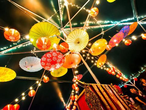 亮眼的灯笼点亮了小石城野木艺术公园