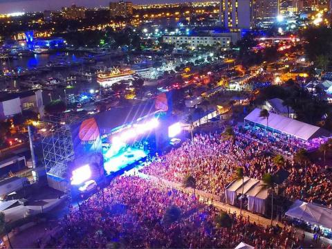 Nighttime aerial view over the Riptide Music Festival