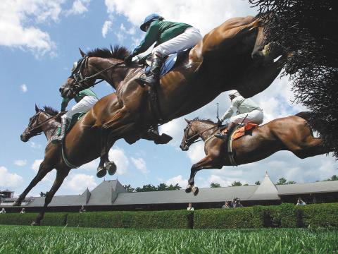 萨拉托加赛马会期间激动人心的场景